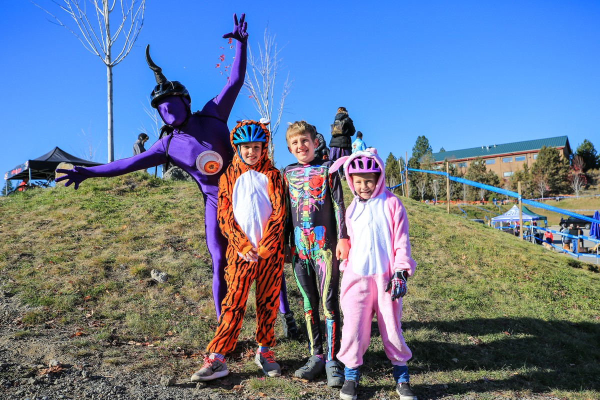 Deschutes brewery Halloween race 2017: me as a purple people eater, Iris as a tiger, Orion as an exposed-organs-thing, Ada as a bunny