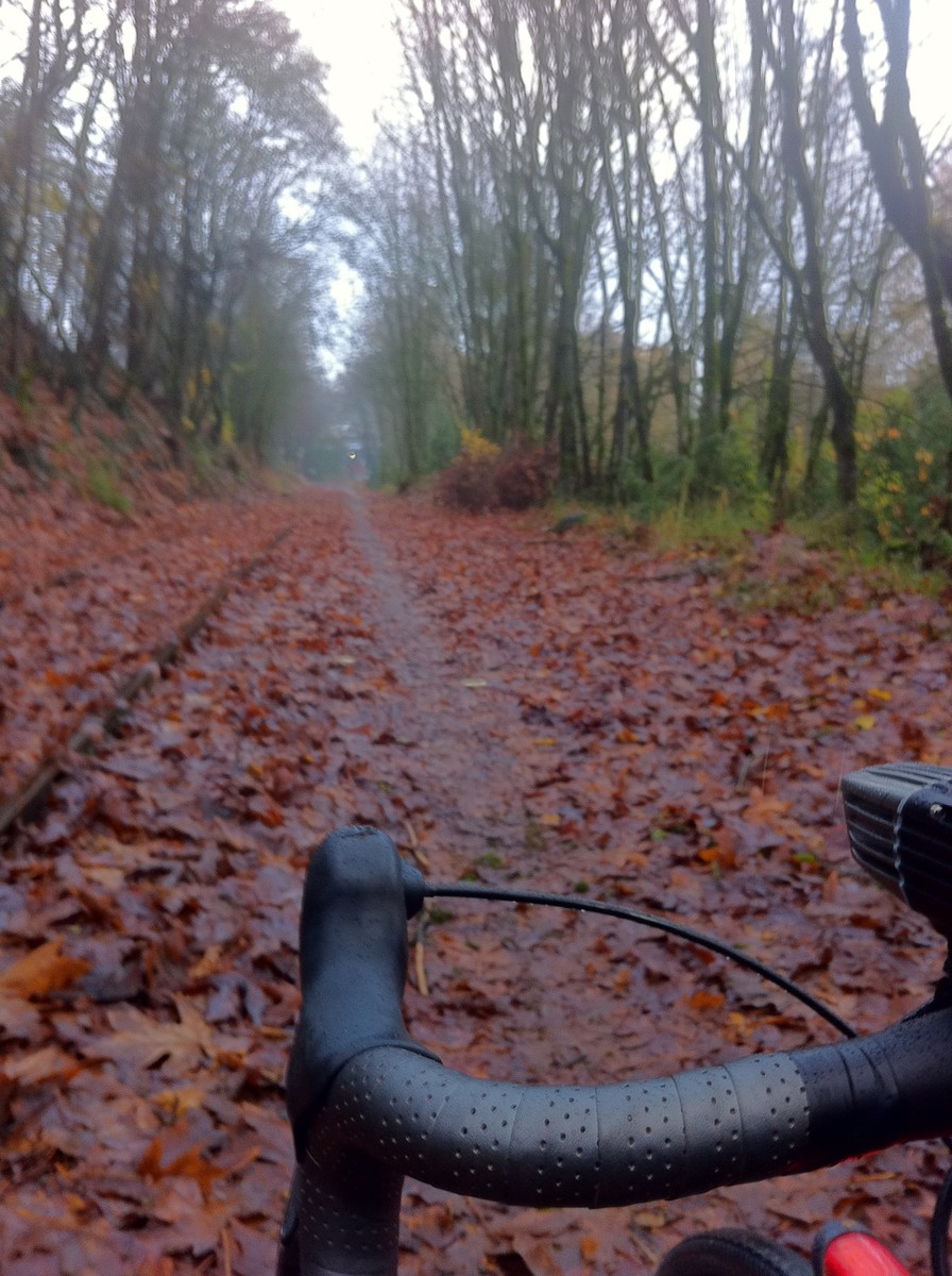 Muddy trail alongside disused train tracks