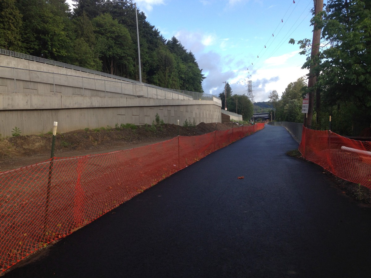 Newly-constructed, freshly-paved mulit-use bike trail