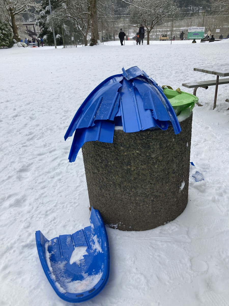 Broken sleds at Sellwood Park