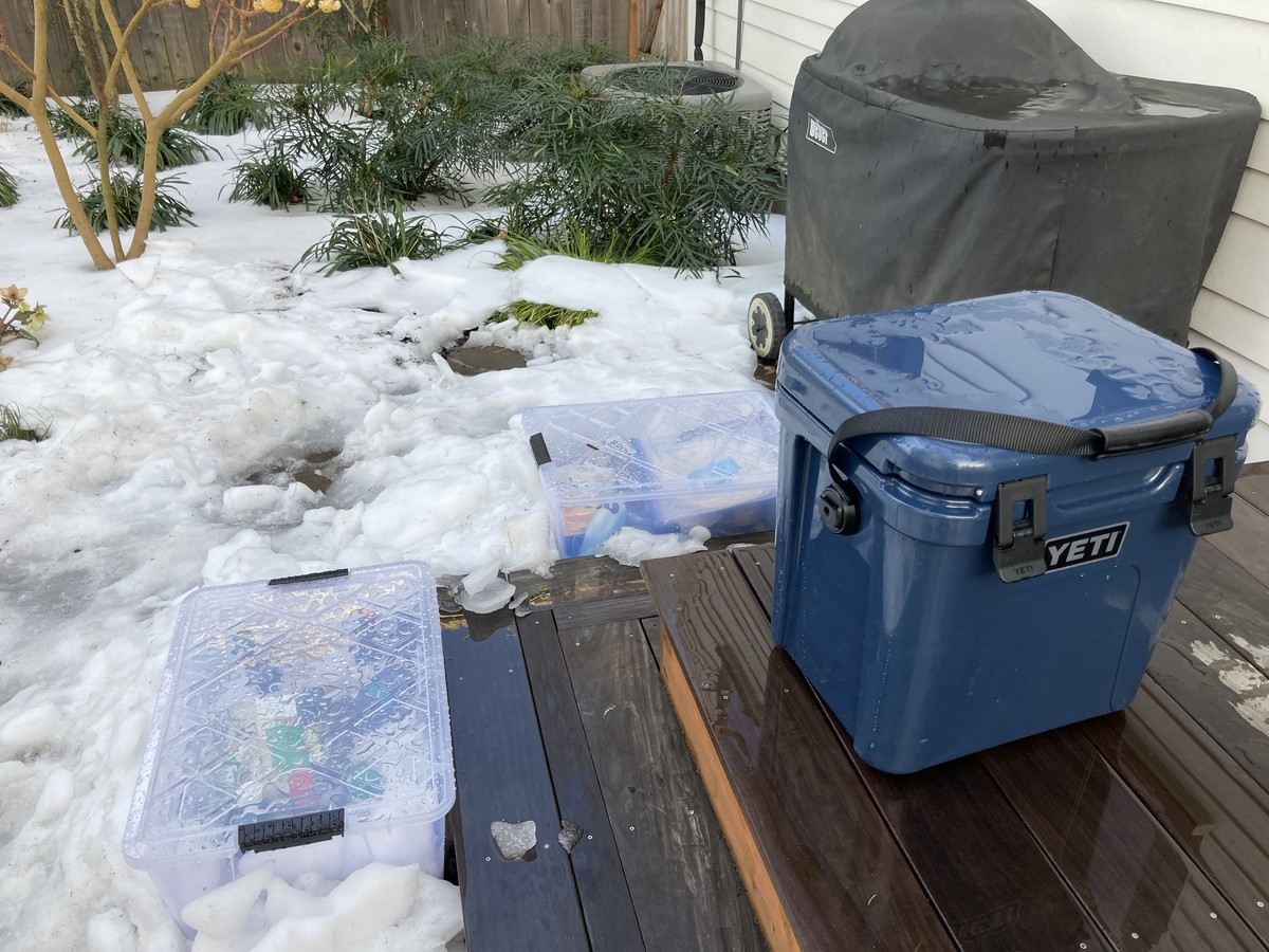 "Our ""refrigerator"": storage bins and cooler in the snow on our back porch"