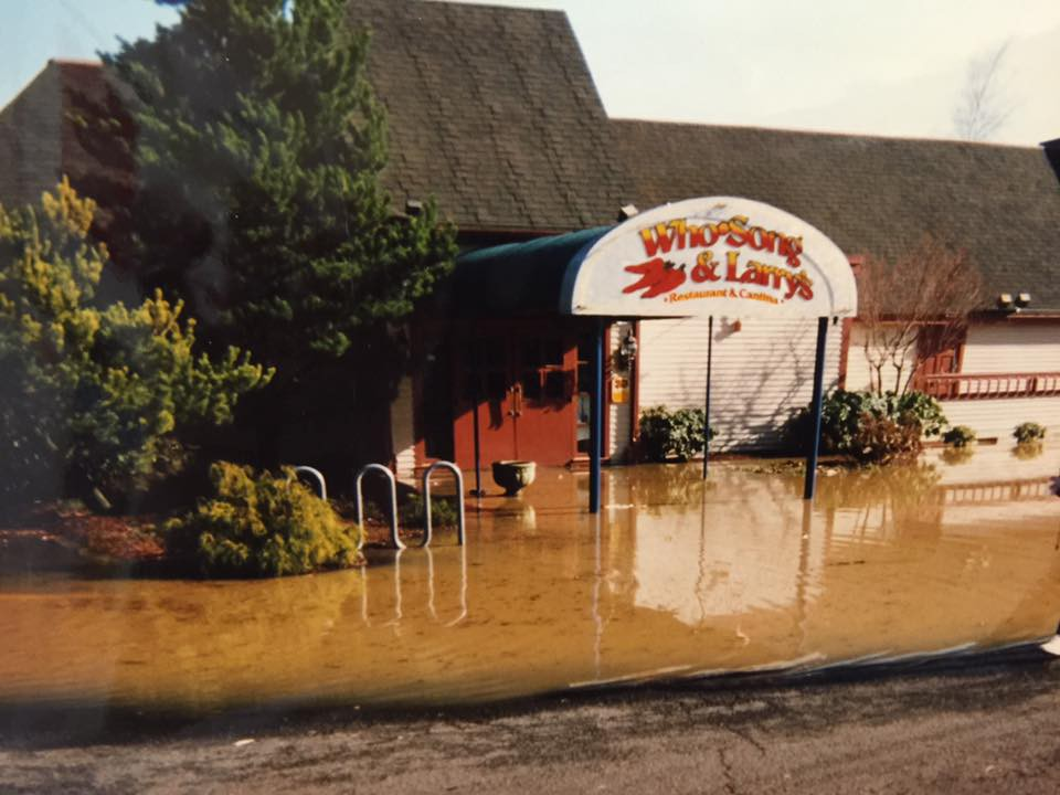 Who-Song & Larry's front entrance, same photo as above, flooded to about a foot or so